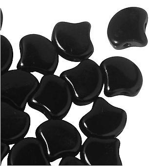 Verre tchèque, perles Ginko 2 trous 7.5mm, 10 grammes, noir de jais