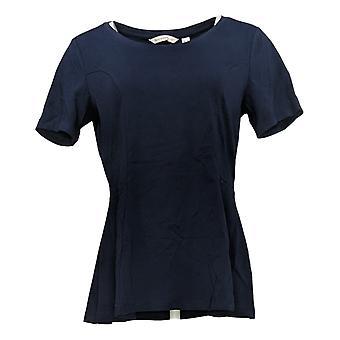 Isaac Mizrahi Live! Dames Jersey Seamed Peplum Knit Blauw A354253