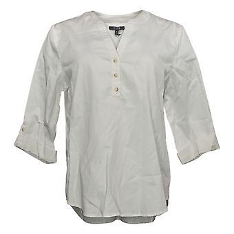 NYDJ Mujer Top Reg Henley Popover Blusa Blanca A416435
