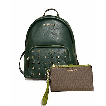 Michael kors erin backpack racing green studded + large wristlet brown mk evergreen