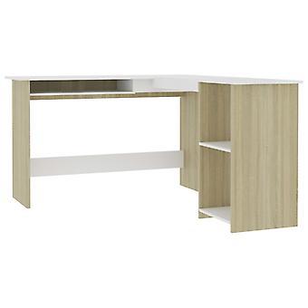 vidaXL Corner Desk sisään L-shape Valkoinen Sonoma Tammi 120×140×75cm