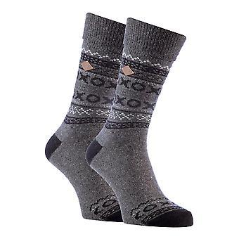 2 Pk mens fairisle formal wool mix dress socks