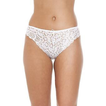 Camille Womens Three Pack Ivory Floral Lace High Leg Slips