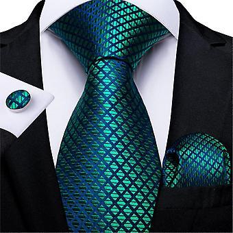 Men Tie Teal Green Paisley Novelty Design Silk Wedding Tie