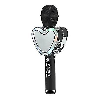 Black heart shape wireless bluetooth karaoke microphone,4 in 1 with led lights for ktv az12499