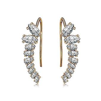 Long Earrings Rose Golden Inlaid Zircon Alloy For Party