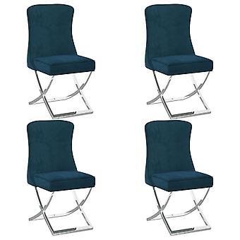 vidaXL Dining Chairs 4 pcs. Blue 53x52x98 cm Velvet