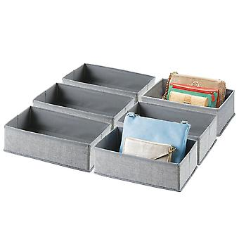 mDesign Soft Fabric Dresser Lade en Kast Opberg organizer, 6 Pack - Grijs