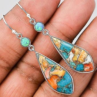 Women Turquoise Cubic 925 Sterling Silver Earrings