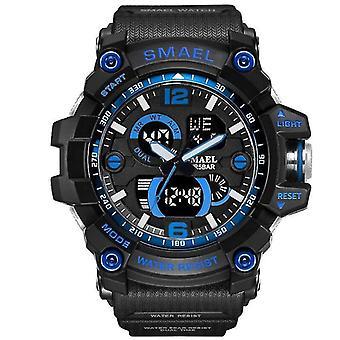 Men Military Watch, 50m Waterproof, Wristwatch Led Quartz Clock(1617B Black-Blue)