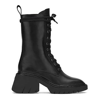 Ash ODESSA Black Leather Heeled Boots