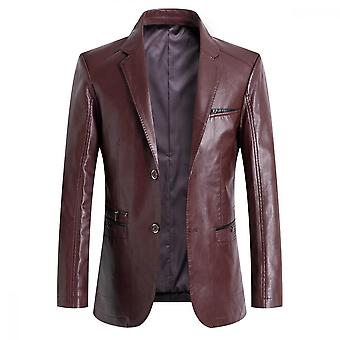 Mile Mens Stand Collar Leather Jacket Casual Faux Leather Motorcycle Jacket