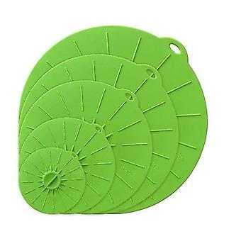 Multifunktionale umweltfreundliche Silikonschüssel und Töpfe Lebensmittelsparerabdeckungen (5pcs Grün)
