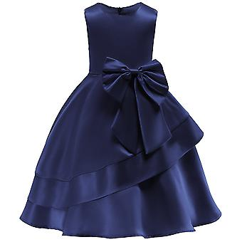 Bow-knot Princess Formal Wedding Bridesmaid Party Christening Kids Tulle Lace Dress
