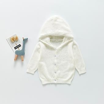Infant Baby Knit Cardigan 2021 Spring And Summer Sun Protection Clothing Hooded Sweater Jacket Hollow Cloth