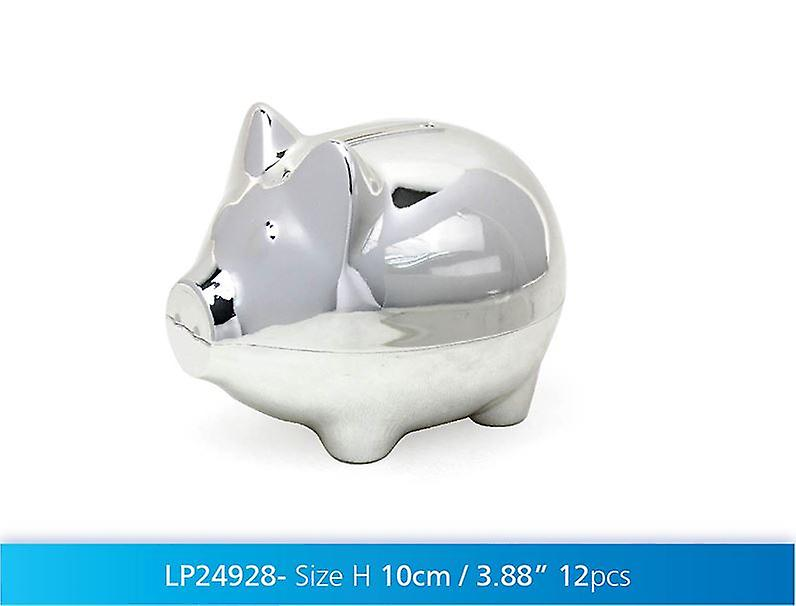 Silver Plated Pig Money Box Coin Cash Piggy Bank Baby Novelty Gift