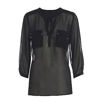 Schwarz mit V-Ausschnitt Chiffon Bluse mit Taschen TP545-L