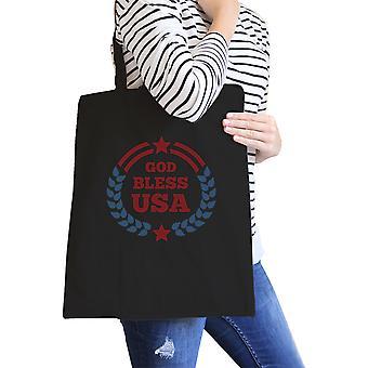 God Bless USA Black Eco-Friendly Patriotic Design Canvas Bag Cotton