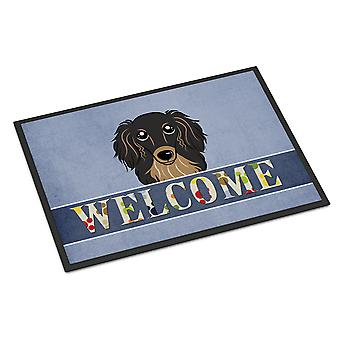 Longhair Black and Tan Dachshund Welcome Indoor or Outdoor Mat 24x36