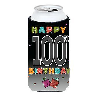 Glad 100: e födelsedag lång pojke dryck isolator Hugger