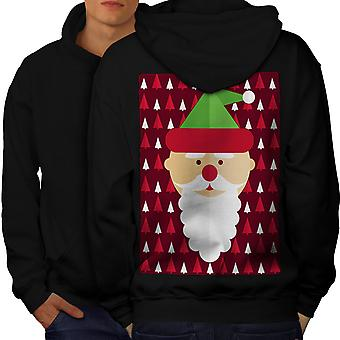 Santa Cute Cool Men BlackHoodie Back | Wellcoda