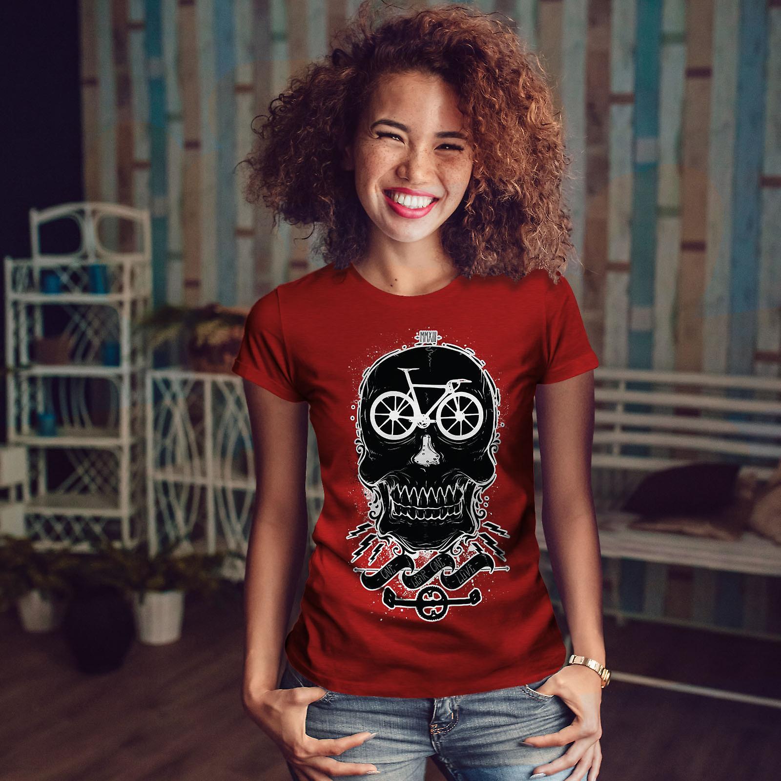 Tête de vélo Rider Skull RedT-chemise femme   Wellcoda