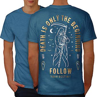 Death Begining Men Royal BlueT-shirt Back   Wellcoda