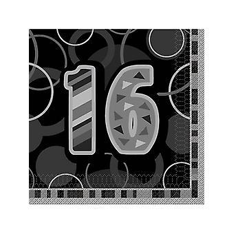 Geburtstag Glanz Schwarz & Silber 16. Geburtstag - Mittagessen NapkinsÂ