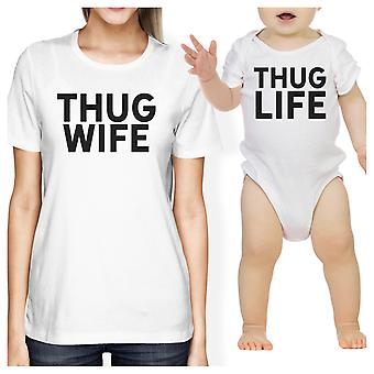 Thug vrouw Thug Life wit Baby Romper vrouwen grafische T-Shirt