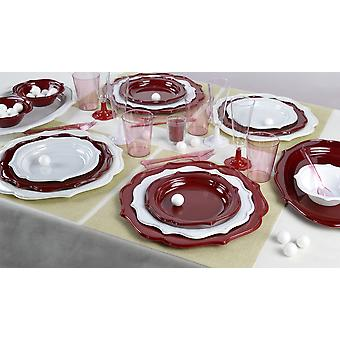 Elegant party dish set romance for 12 guests red white 140-teilig party package
