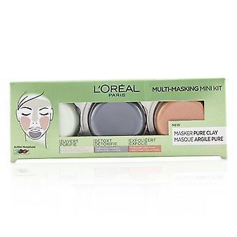 L'oreal Multi-masking Mini Kit:  Exfoliate & Refine Pores Clay Mask Detoxifies & Clarifies Clay Mask & Purify & Mattify Clay Mask - 3pcs