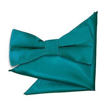 Teal Plain Satin Bow Tie & Pocket Square Set for Boys