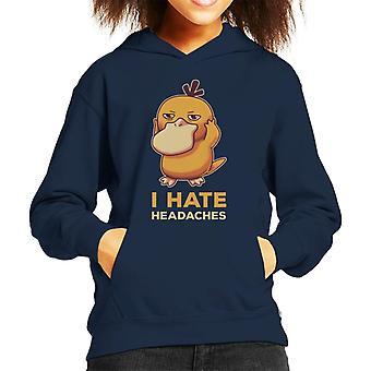 I Hate Headaches Psyduck Pokemon Kid's Hooded Sweatshirt