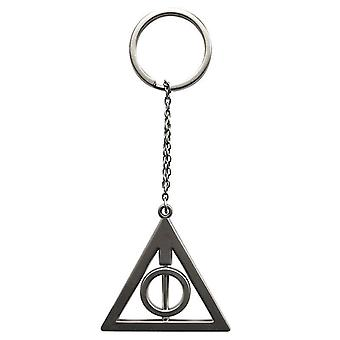 Harry Potter Keychain 3D Deathly Hallows silver, metal gift box.