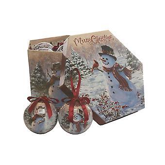Festive Productions 14pc Snowman Christmas Xmas Decoupage Baubles Tree Decorations