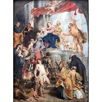 Madonna Enthroned with Child and, Peter Paul Rubens, 50x40cm