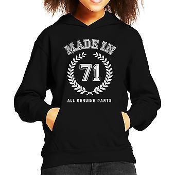 Made In 71 All Genuine Parts Kid's Hooded Sweatshirt