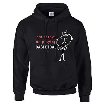 Mens que eu preferia estar jogando basquete Hoodie preto Hoody