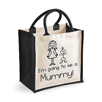 Medium Black Jute Bag I'm Going To Be A Mummy