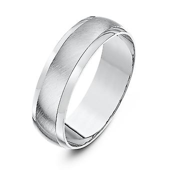 Estrelas de anéis Palladium 950 D pesado Matt centro 6mm aliança de casamento