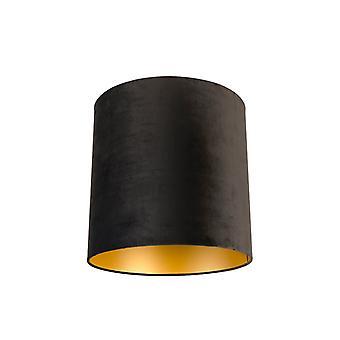 QAZQA Velor abajur preto 40/40/40 com interior dourado