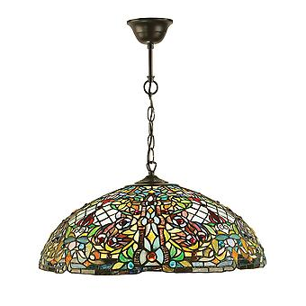 Anderson Tiffany stijl grote drie licht plafond hanger - interieurs 1900 63902