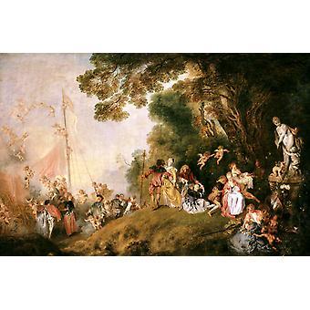 Pèlerinage à Cythère, Jean-Antoine Watteau, 60x40cm