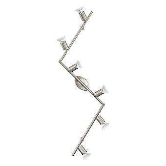 Eglo - Buzz-LED 6 leichten Zick-Zack-Wand oder Decke Spotlight Bar mit Satin-Nickel Finish EG92599