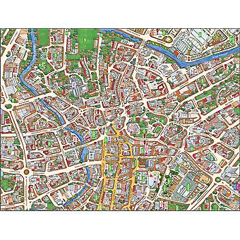 Stadsbilder Street karta över Norwich 400 bit pussel 470 x 320 mm (HTF)