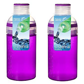 Sistema Set of 2 Trio Bottles 480ml, Purple