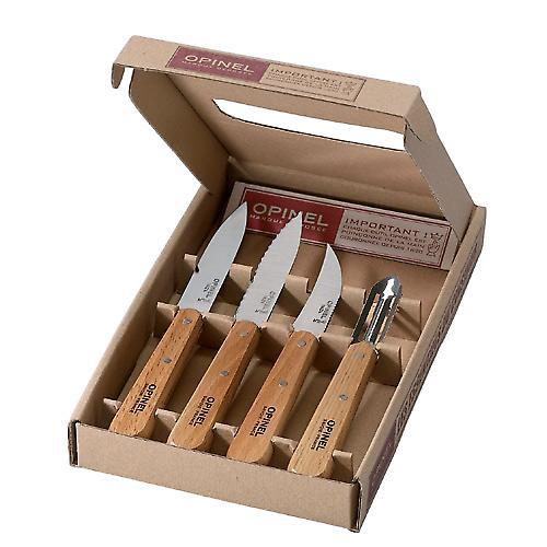 OPINEL Küchenmesser set - Buchenholz Griffe - 4 Stück-Geschenk-set