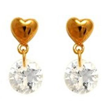 Ah! Jewellery Women's Drop Brilliant Round Crystals From Swarovski Earrings Gold Filled
