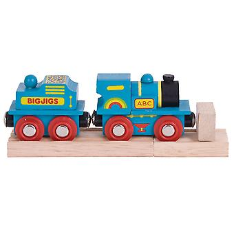 Bigjigs Rail Wooden Blue ABC Engine with Track Accessories Compatible