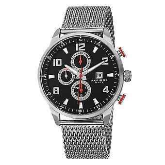 Akirbos XXIV AK784SSB mannen Swiss Quartz multifunctionele dual time roestvrijstaal mesh zilver-tone armband WA